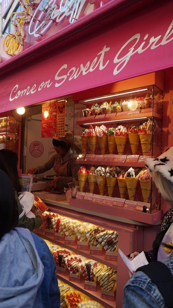 Pretty Display of sweet crepes along Harajuku, the place where the young and hip hang out