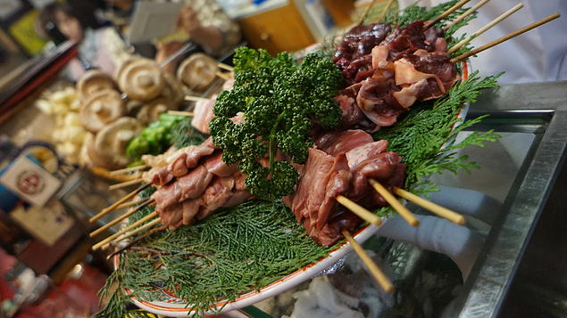 Piss Alley sells amazing Yakitori barbequed right in front of you. Come here for a snack and beer after your dinner to well up your taste buds again. Each stick can range between USD$2 - $5.