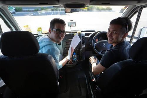 The pilot and co-pilot in the 1st stretch of our new zealand road trip