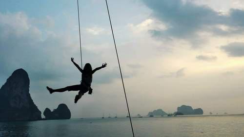 Dangling in Sheer Pleasure Krabi Thailand Rock Climbing