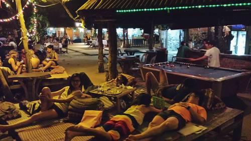 Chilling out at the bar at night Thailand Krabi Tonsai