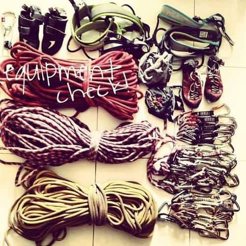 The tonnes of equipment we brought along Krabi Thailand Rock climbing
