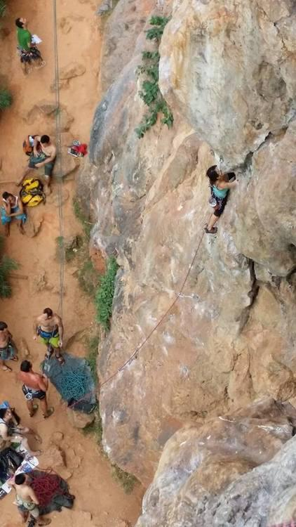 Me leading up a route called 'Helga' Krabi Thailand Rock climbing Lydiascapes