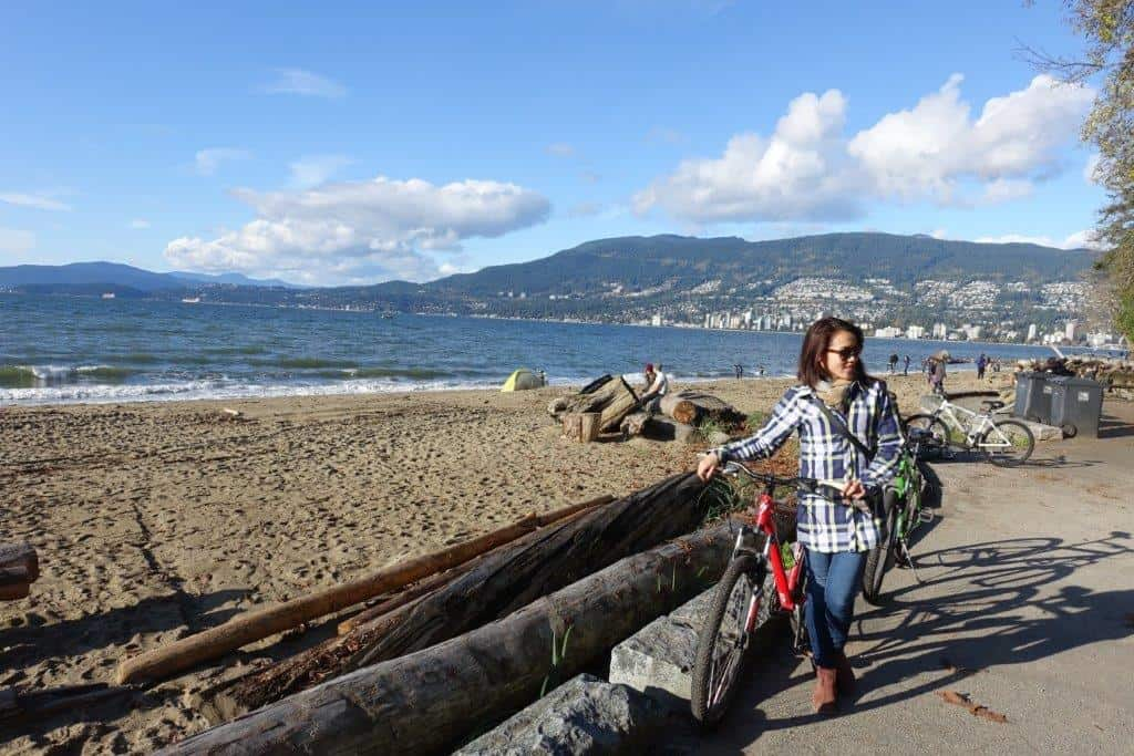 Cycling along Stanley Park beautiful beaches