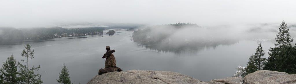 Panoramic View of the Indian Arm from Quarry Rock Lookout Point on a foggy day