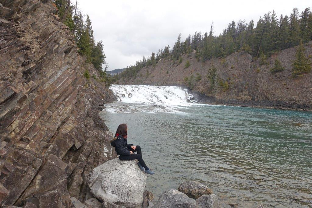 View of Bow Falls at the start of the trek