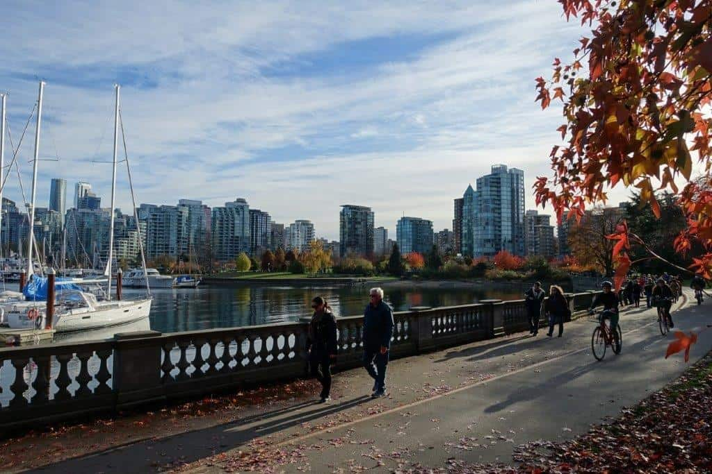 View of harbour and waterfront as you cruise along in Stanley Park
