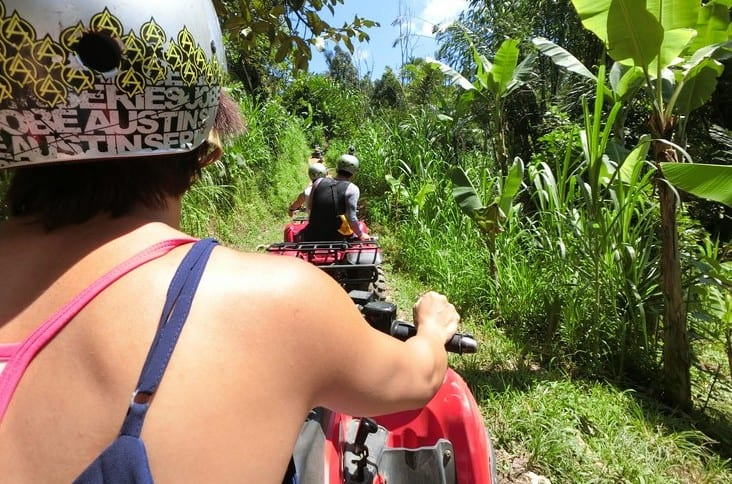 Bali Outdoor Adventure - Over the head view of the dirt bike path we are about to embark on