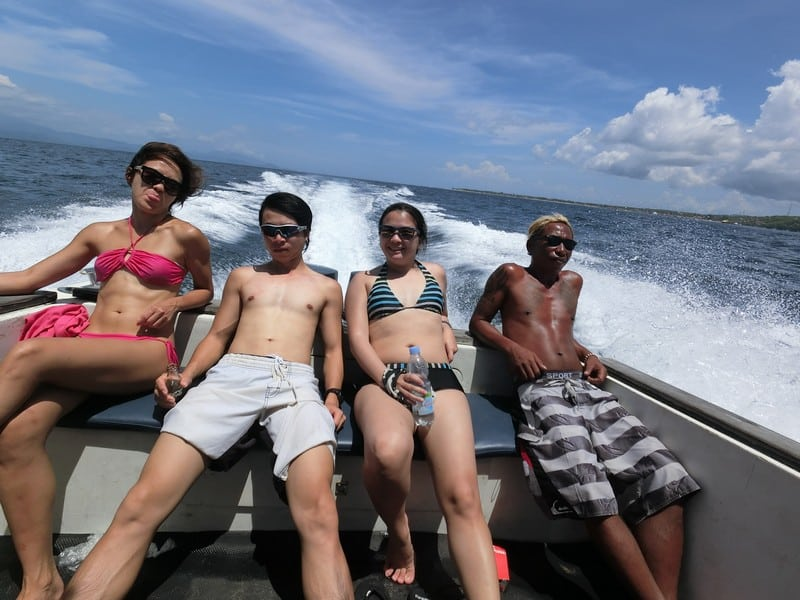 Outdoor adventures in Bali- speeding along to crystal bay nusa penida looking all cool and suave