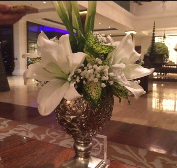 Beautiful floral arrangement in the lobby of St Regis