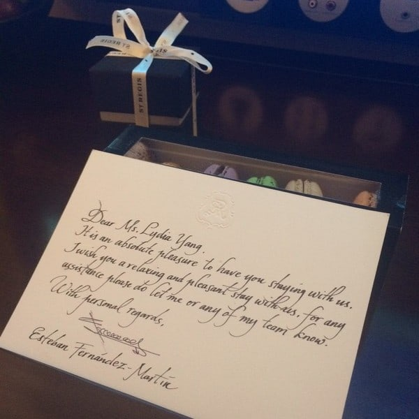 Handwritten welcome greetings from St Regis Bali. Such a lovely touch. Impressive!