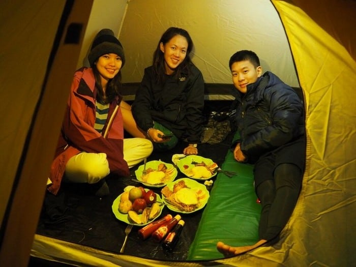 all warm and snug in the tent for the night - mount rinjani trek