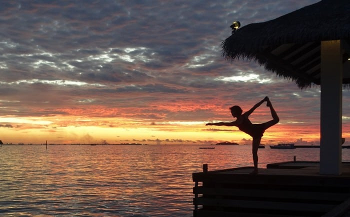Dancer Pose - Shot against the sunset at Sheraton Maldives