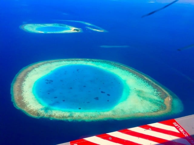View of maldives atolls from seaplane