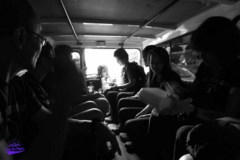 leaving the comfort of the van into the slums