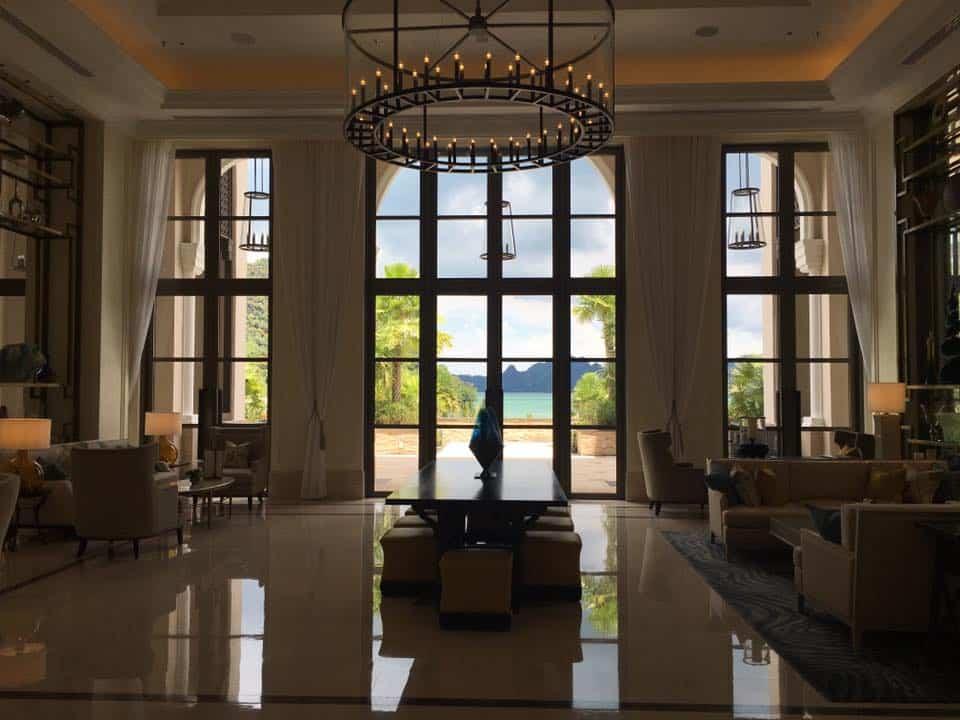 Grand high ceiling lobby at St Regis Langkawi Resort