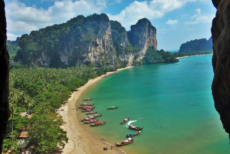 Stunning beaches and rock formations at Railey Beach in Thailand. Rock Climber's dream paradise