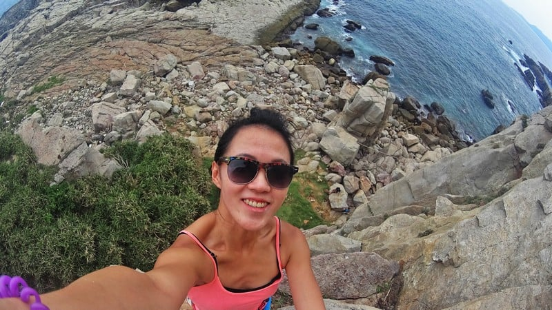Selfie at the top of the rock climbing route in Longdong Taiwan
