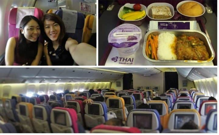 getting all comfortable in thai airways