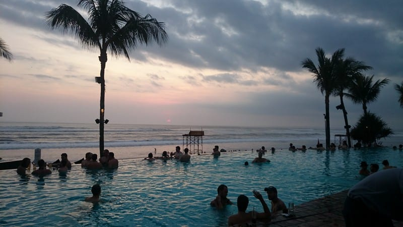 infinity pool and sunset view at potato head beach club