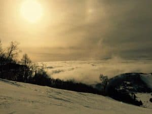 "Sunset at the top of the ski slope iin Shiga Kogen "" Destinations for the Best Sunrises and Sunsets in the World"