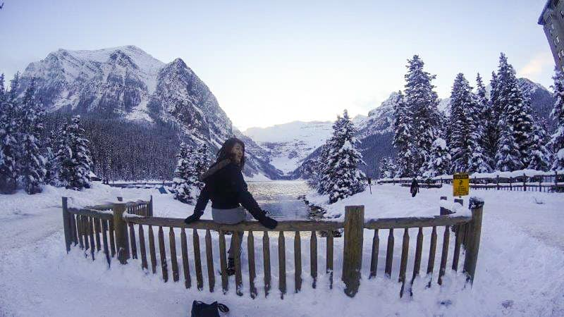 Hiking in Lake Louise During winter season
